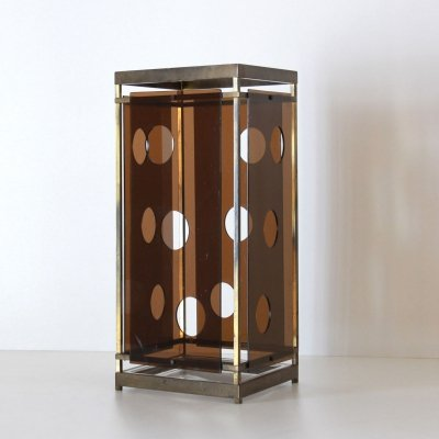 Brass & plexiglass umbrella stand, 1970s
