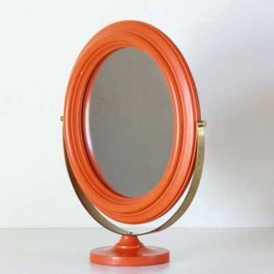 1960s vintage orange table mirror