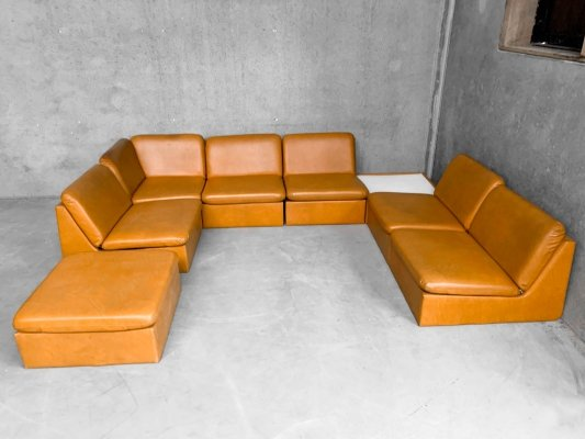 Large Modular Sofa in Curry Skai Leather with Hocker & Corner Table