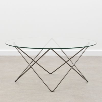 Metal wire & glass coffee table, 1980s