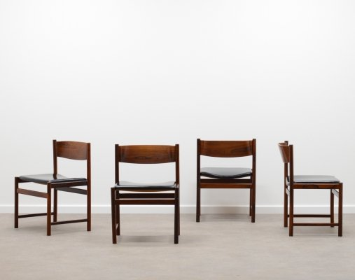 Set of 4 rosewood chairs by Cees braakman for Pastoe Holland