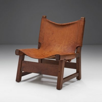 Small Wood & Leather Chair by a European Cabinetmaker, Europe ca 1950s