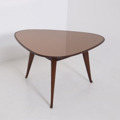 Coffee table by Osvaldo Borsani in wood & dark orange mirror, 1950s