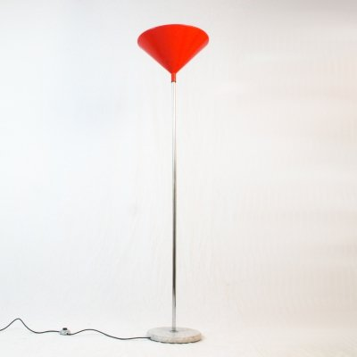 Italian 60's floor lamp with marble base & lacquered metal cap