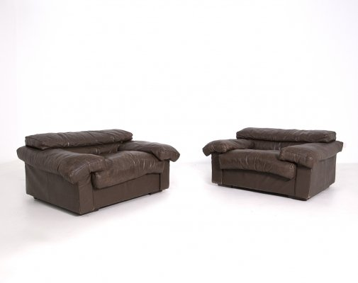 Pair of Brown Leather Erasmo Armchairs by Tobia Scarpa for B&B Italia, 1970s