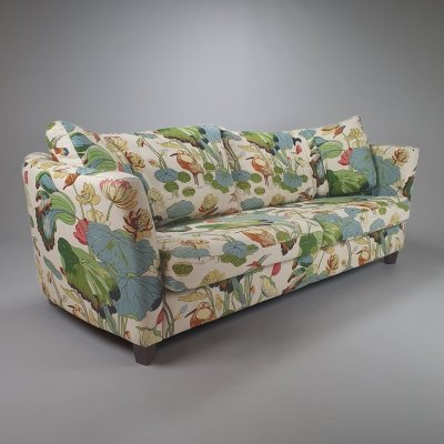 Vintage 3 seats Sofa by Josef Frank with Lotus Linen Fabric, 1930s