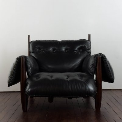 Mole armchair in original leather designed by Sergio Rodrigues, 1950s