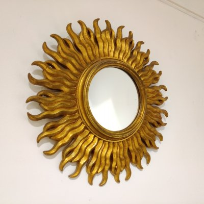 Mid century golden sunburst mirror