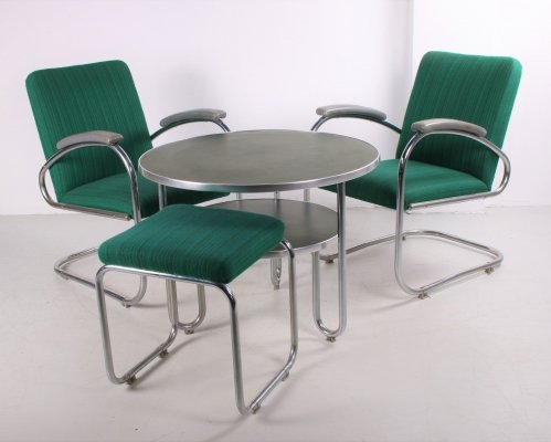 Bauhaus seating group with 2 armchairs, table & footstool by Mauser, 1950s