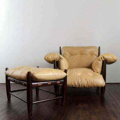 Mole armchair with ottoman by Sergio Rodrigues, 1950s