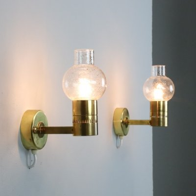 Pair of Hans-Agne Jakobsson V-220 wall lights by AB Markaryd, 1960s