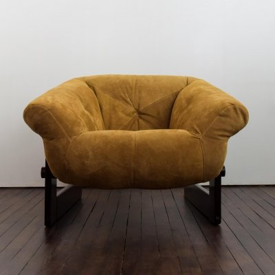 MP-131 armchair in ochre suede by Parcival Lafer, circa 1970