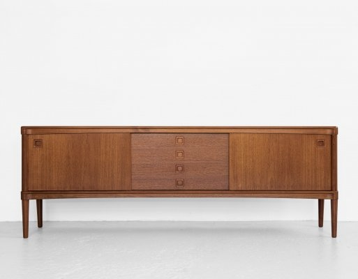 Midcentury Danish sideboard in teak by HW Klein for Bramin with square handle