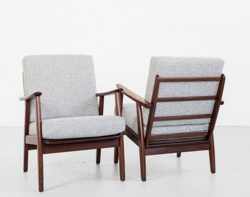Midcentury Danish pair of easy chairs in solid teak & fabric, 1960s