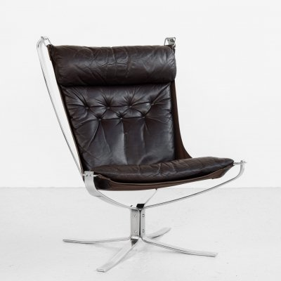 Falcon Chair in chrome & leather by Sigurd Ressell for Vatne Möbler, 1970s