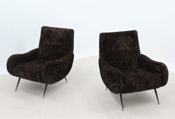 Pair of Vintage chenille fabric Italian armchairs, 1950s