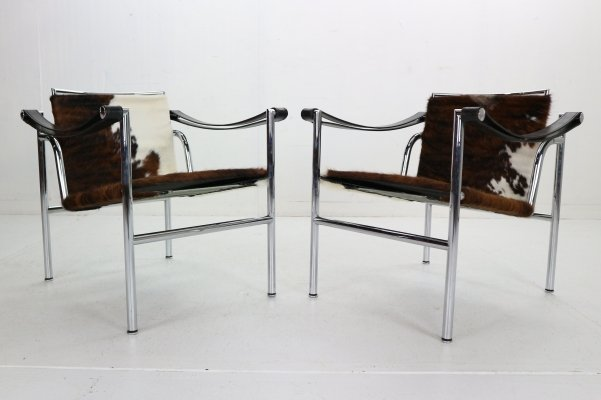 Le Corbusier set of 2 Pony Skin Armchairs Model-LC1 for Cassina, Italy 1970s