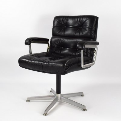 1970s Leather Swivel Chair Eurochair by Girsberger