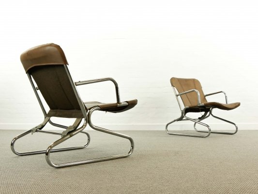 Pair of Mid Century Armchairs with Tubular Steel base, 1970s
