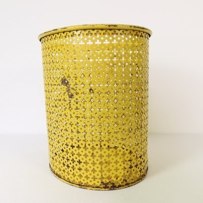 Yellow painted metal paper basket by Mathieu Matégot, 1960s
