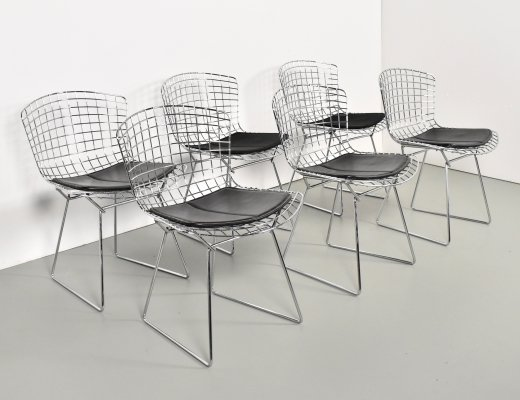 Set of 6 wire dining chairs by Harry Bertoia for Knoll, 1980s