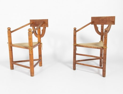 Set of two Mid-Century Swedish Monk Chairs, 1950s