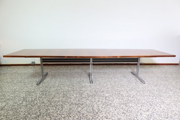 Big boat shaped rosewood conference table by Theo Tempelman for AP Originals, 1960s