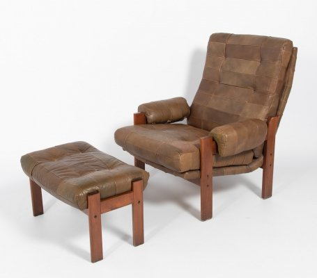 Swedish Modern patchwork leather armchair with ottoman, 1960's