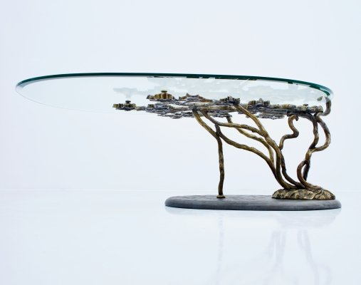 Bronze Tree Form Sofa Table with Slate Base & Glass Top, 1960s