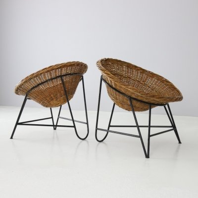 French basket lounge chairs in rattan & metal, 1960s