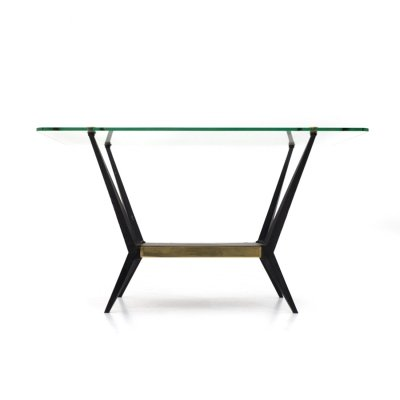 Coffee table with glass & brass top, 50s