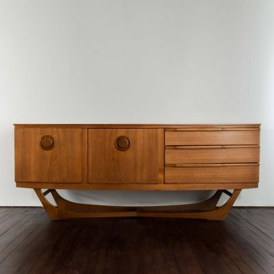 English mid century cross base sideboard, 1970s