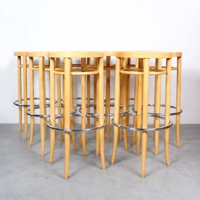 Set of 8 204 RH stools by Gebr. Thonet for Thonet, 1990s