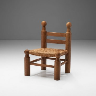 Small Wood & Wicker Chair by a European Cabinetmaker, Europe ca 1950s
