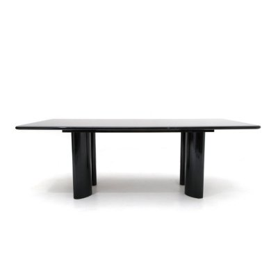 Black lacquered table with rectangular top, 70s