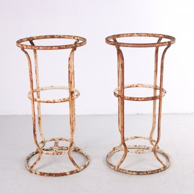 Pair of Wrought iron French planter garden stands, 1920s