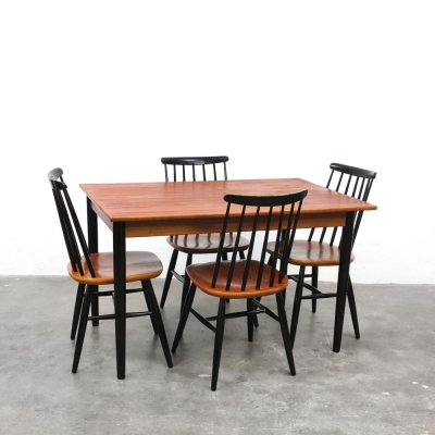 Swedish dining set with extendable table & four chairs, 1960s