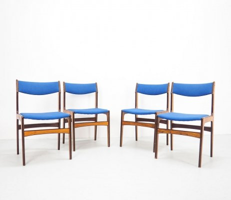 Set of 4 Blue Erik Buch chairs for O.D. Møbler, 1960's