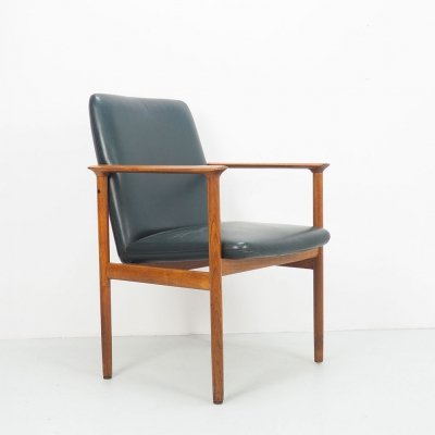 Vintage Impala teak & leather arm chair from Fristho, 1960's
