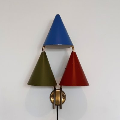 Rare tripple shaded wall sconce by Svend Aage Holm Sørensen for Lyfa, 1950's