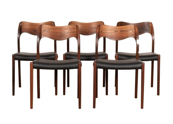 Set of 5 Model 71 dining chairs by Niels O. Møller for JL Møllers Møbelfabrik, 1960s