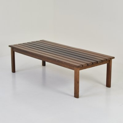 Slat bench or coffee table in wenge & ash, 1960's