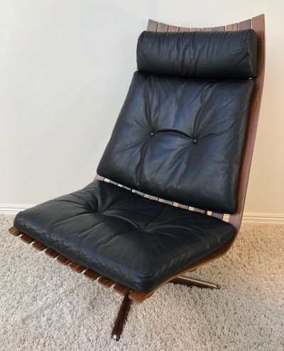 Hans Brattrud 'Scandia' Brazilian Rosewood swivel easy chair, 1960's