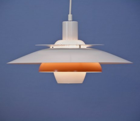 Danish hanging lamp in white with orange / terra accent, 1980s