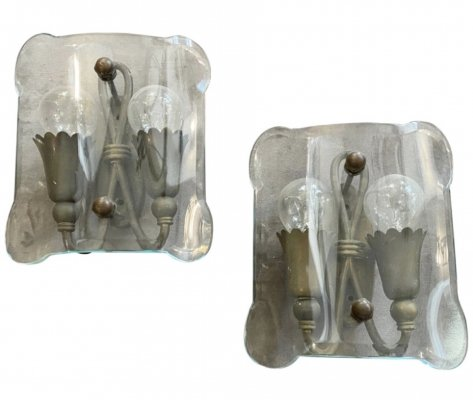 1950s set of Two Mid-Century Modern Shaped Glass & Brass Italian Wall Sconces
