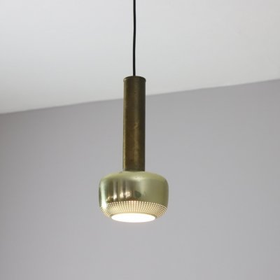 Vilhelm Lauritzen 'Guldpendel' hanging lamp in patinated brass, 1960s