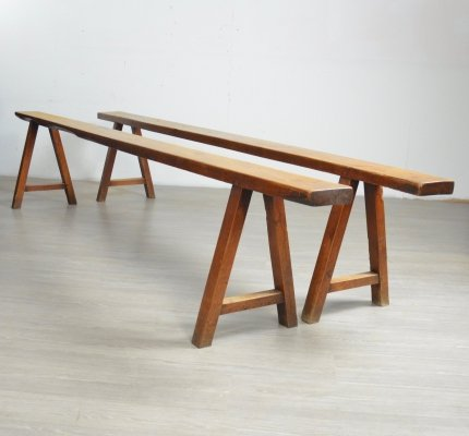 Pair of large French Farmhouse Benches, 1950s
