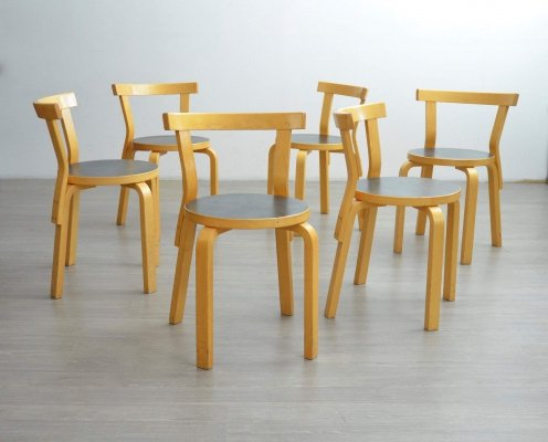 Set of 6 Vintage '68' Dining Chairs by Alvar Aalto, 1960s