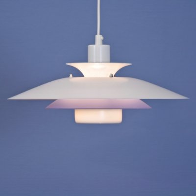 Danish hanging lamp in white with blue / pink accent, 1980s