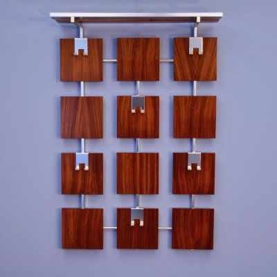 Dutch adjustable coat rack in rosewood & aluminium, 1970s